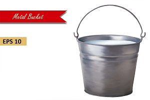 Metallic bucket with milk. Vector