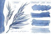Watercolor blue leaves