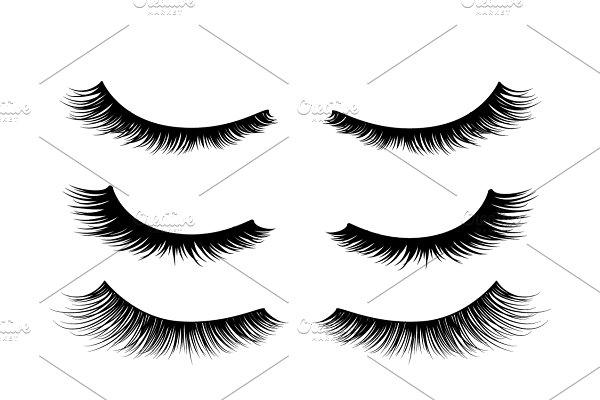 Black realistic detailed eyelashes