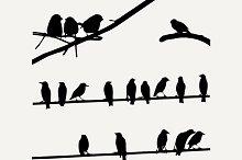 Birds on Wires, silhouette set
