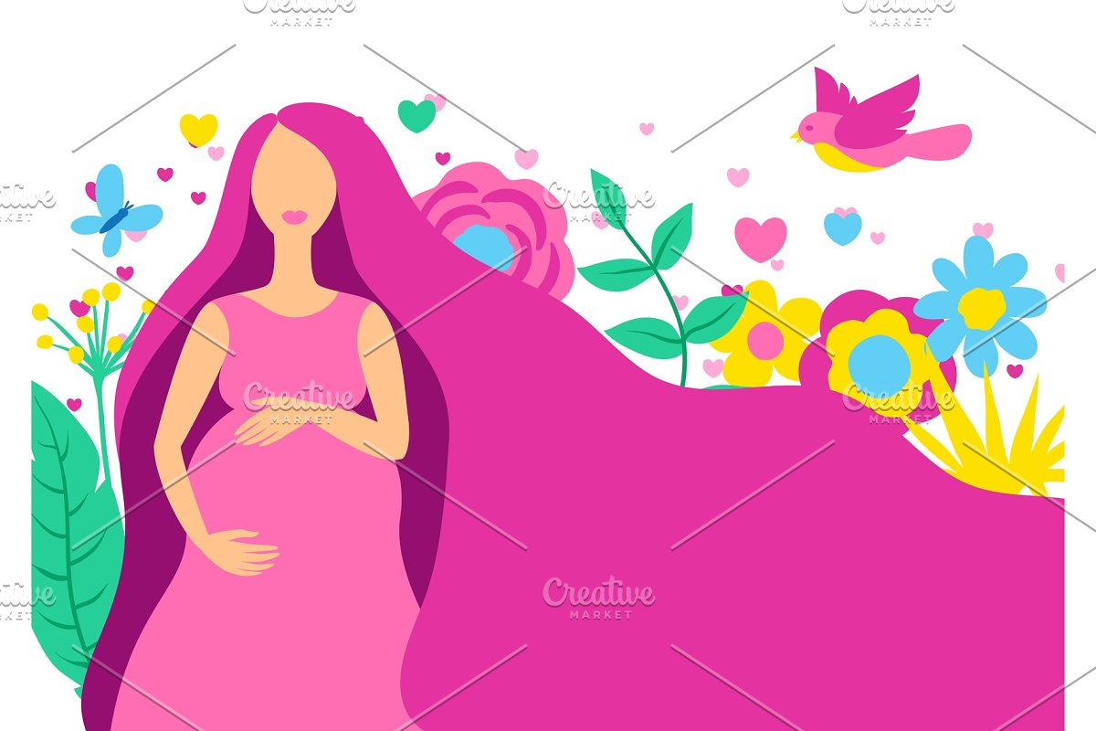 Happy pregnancy. Pretty pregnant in Illustrations - product preview 8
