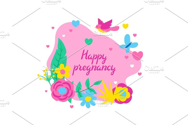 Happy pregnancy card. Baby shower