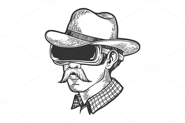 Cowboy in VR helmet glasses sketch