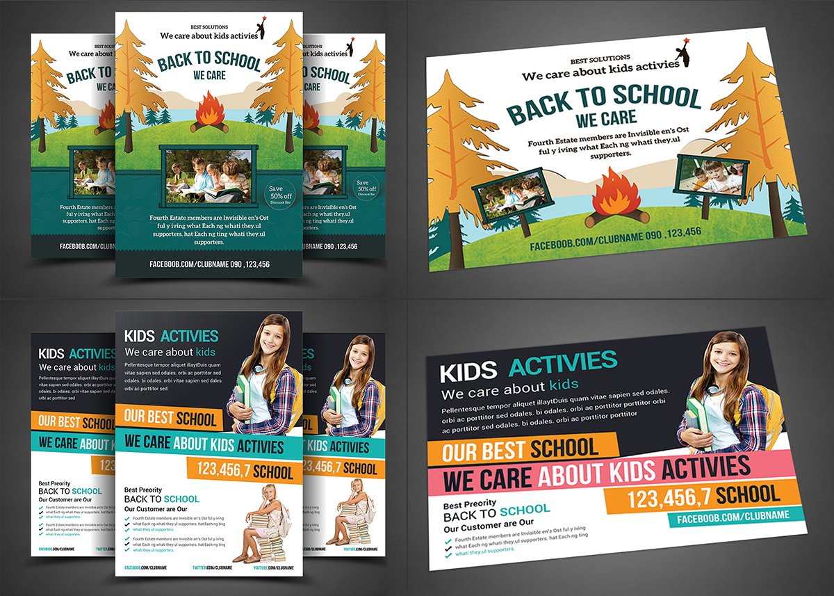 college flyer photos graphics fonts themes templates school education flyer bundle