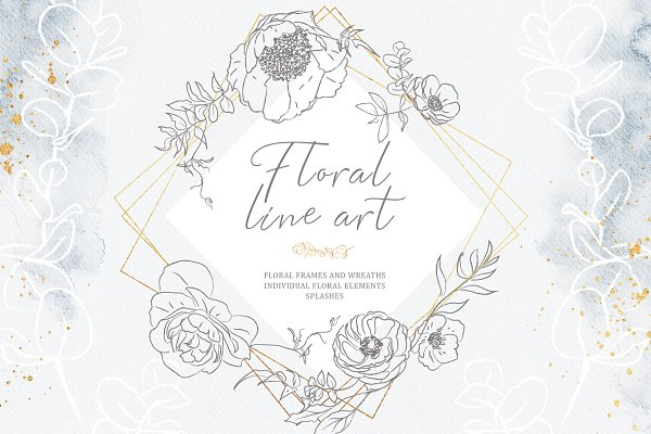 Rustic Floral Bundle. Line Art Set