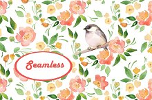 Watercolor pattern 1. Bird. Seamless