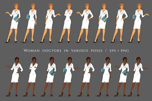 Woman doctors in various poses