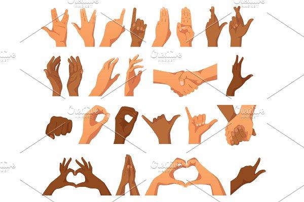 set of various hands gestures