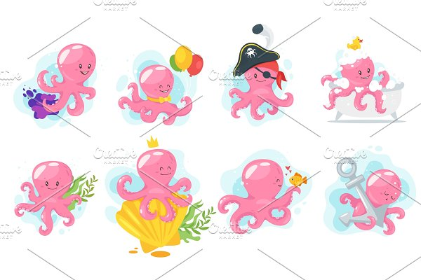 Octopus cartoon style baby character
