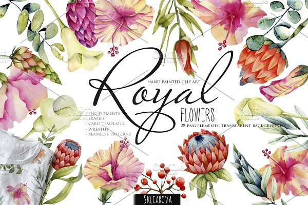 Royal flowers. Watercolor clip art.