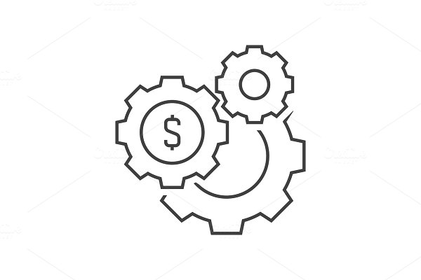 Gears with dollar sign