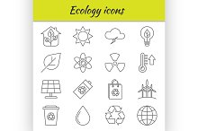 Outline icons set. Ecology