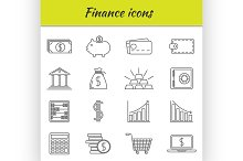 Outline icons set. Finance icon