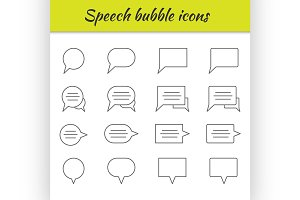 Outline icons set. Speech bubbles