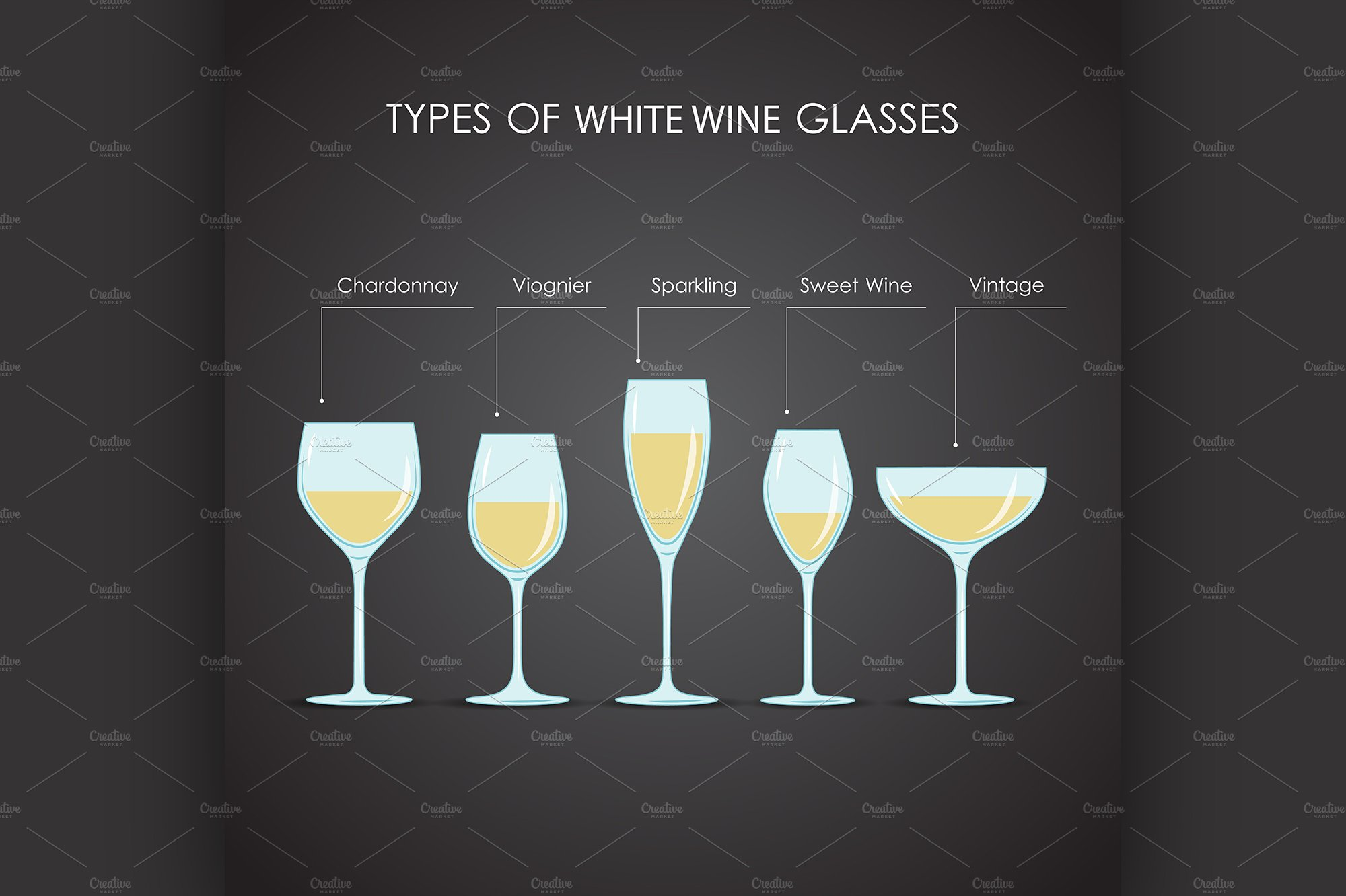 types of white wine glasses illustrations creative market. Black Bedroom Furniture Sets. Home Design Ideas