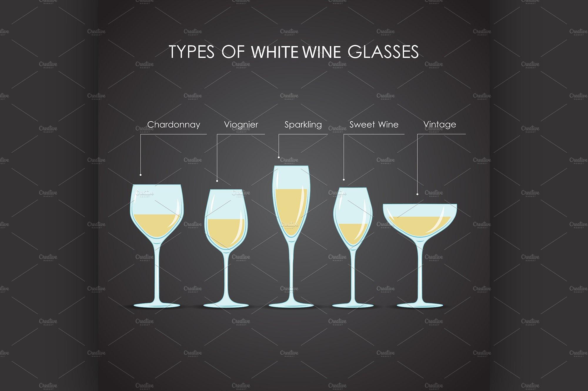 types of white wine glasses illustrations creative market. Black Bedroom Furniture Sets. Home Design Ideas