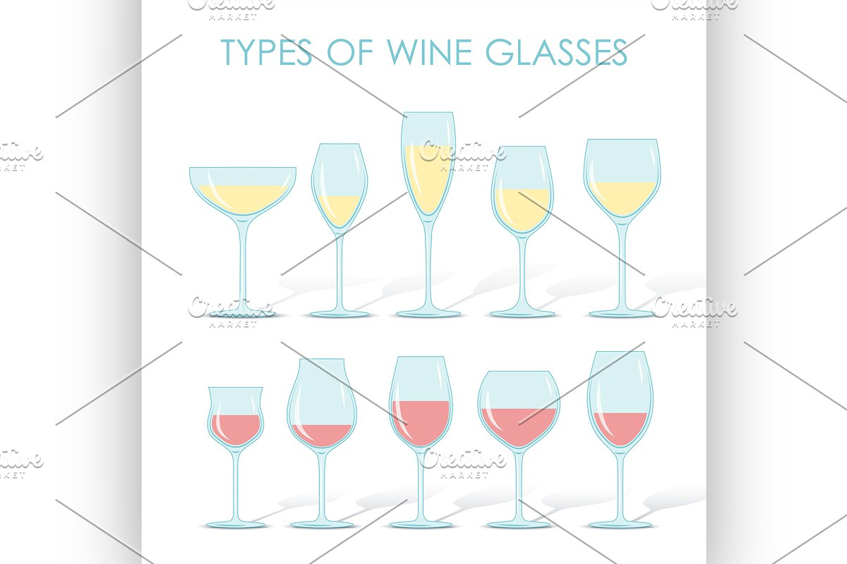 74fc2c480cbb types of wine glasses ~ Illustrations ~ Creative Market