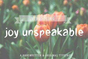 joy unspeakable- handwritten font