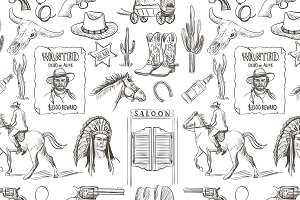 Wild West handdrawn seamless pattern