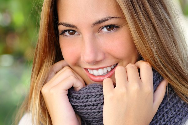 Close up of a beautiful woman smile…