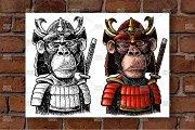 Monkey with samurai sword and japan