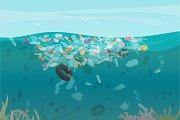 Sea ocean water pollution concept