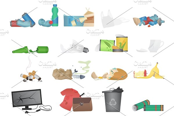 Garbage and waste realistic icons