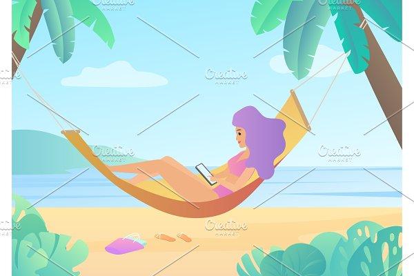Girl in swimsuit in hammock