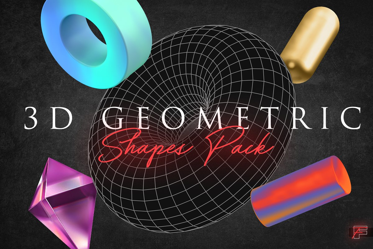 3D Geometric Shapes Pack ~ Graphic Objects ~ Creative Market