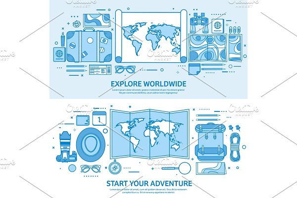Travel and tourism. World map, earth