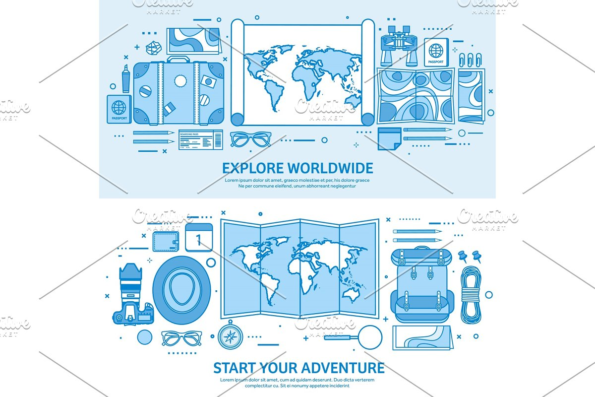 Travel and tourism. World map, earth in Objects - product preview 8