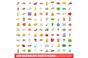 100 barbecue party icons set