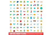 100 delivery icons set, cartoon