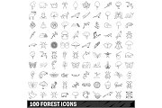 100 forest icons set, outline style