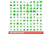 100 green icons set, cartoon style