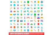 100 it business icons set, cartoon