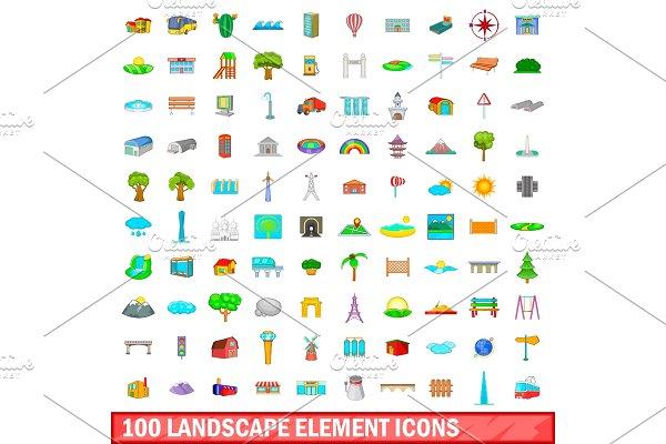 100 landscape element icons set