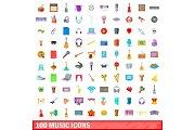 100 music icons set, cartoon style