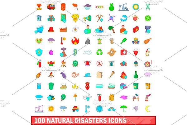 100 natural disasters icons set