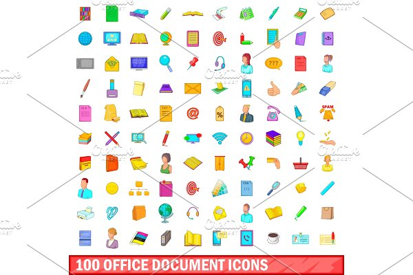 100 office document icons set