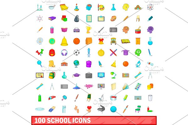 100 school icons set, cartoon style