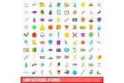100 school icons set, cartoon style
