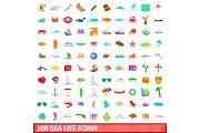 100 sea life icons set, cartoon