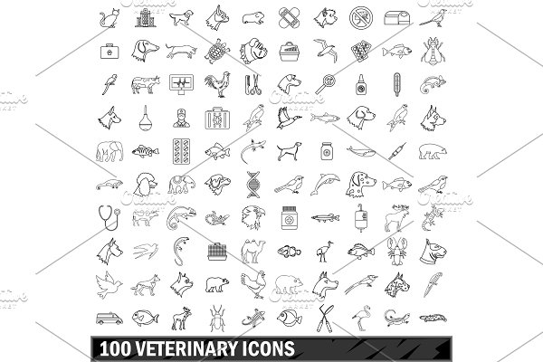 100 veterinary icons set, outline