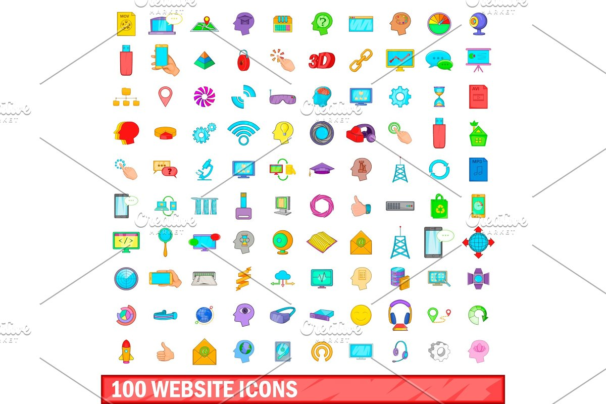 100 website icons set, cartoon style in Objects - product preview 8