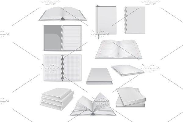 Book notepad mockup set, realistic
