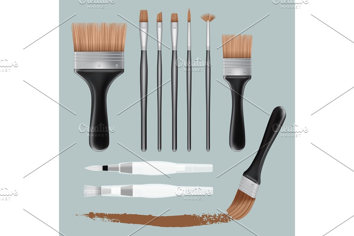 Brush paint mockup set, realistic in Illustrations - product preview 8