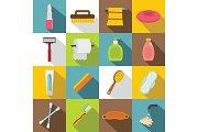 Hygiene tools icons set, flat style