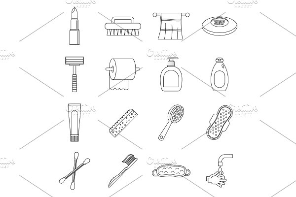 Hygiene tools icons set, outline