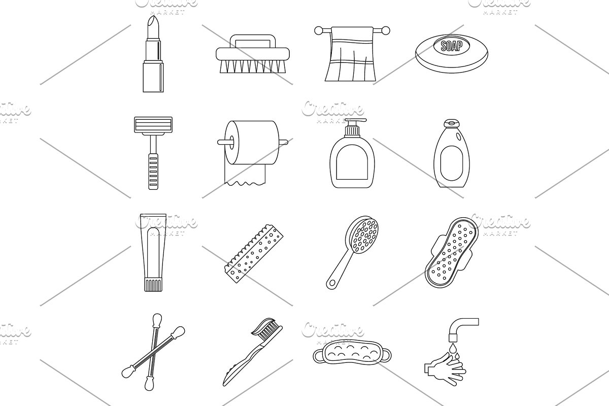Hygiene tools icons set, outline in Objects - product preview 8